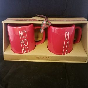 Rae Dunn Set RED HOLIDAY MUG HO HO HO FA LA LA